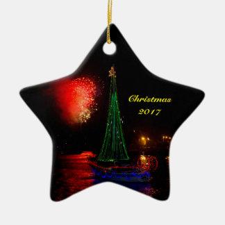 2017 Sailboat and Fireworks Ceramic Christmas Star Ceramic Ornament
