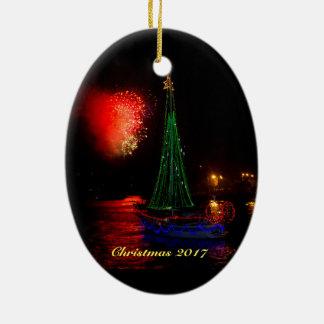 2017 Sailboat and Fireworks Ceramic Ornament