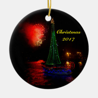 2017 Sailboat and fireworks Ceramic Round Ornament