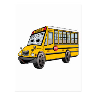 2017 School Bus Cartoon Postcard