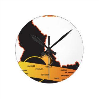 2017 Solar Eclipse Across Idaho Cities Map Clocks