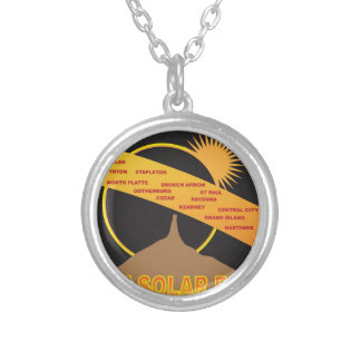 2017 Solar Eclipse Across Nebraska Cities Map Silver Plated Necklace