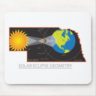 2017 Solar Eclipse Geometry Across Nebraska Cities Mouse Pad
