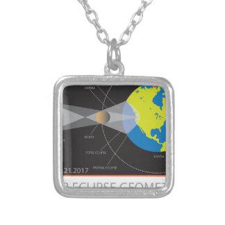 2017 Solar Eclipse Geometry Across Nebraska Cities Silver Plated Necklace