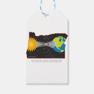2017 Solar Eclipse Geometry Across Oregon Cities Gift Tags