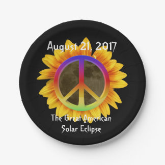 2017 Solar Eclipse, Sunflower and Peace Symbol Paper Plate