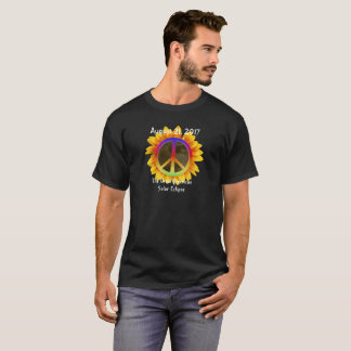 2017 Solar Eclipse, Sunflower and Peace Symbol T-Shirt