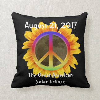 2017 Solar Eclipse, Sunflower and Peace Symbol Throw Pillow