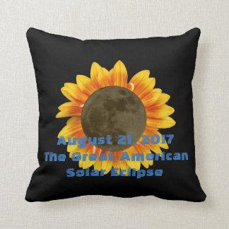 2017 Solar Eclipse, Sunflower Edition Throw Pillow