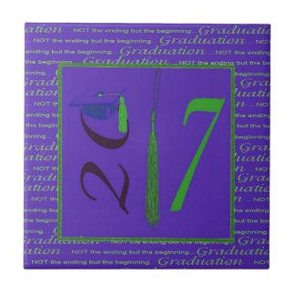 2017, Tassel as the One, Grad Cap on Two, Purple Tile