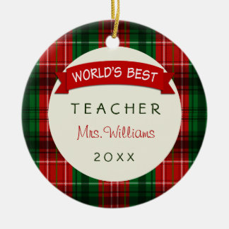 2017 Teacher Holiday Plaid Gift Ornaments