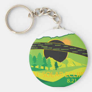 2017 Total Solar Eclipse Across Oregon Cities Map Keychain