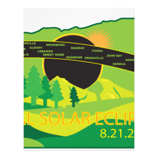 2017 Total Solar Eclipse Across Oregon Cities Map Letterhead