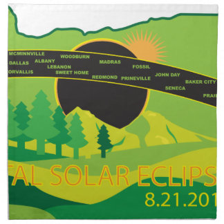 2017 Total Solar Eclipse Across Oregon Cities Map Napkin