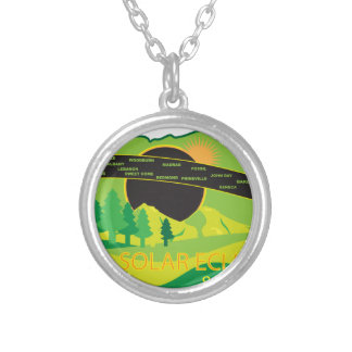 2017 Total Solar Eclipse Across Oregon Cities Map Silver Plated Necklace