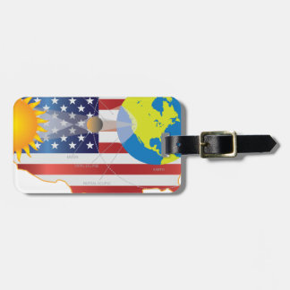2017 Total Solar Eclipse Across USA Map Geometry Luggage Tag