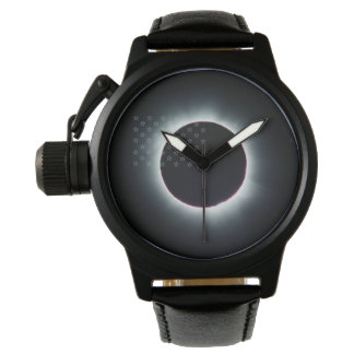 2017 Total Solar Eclipse Black Leather Watch