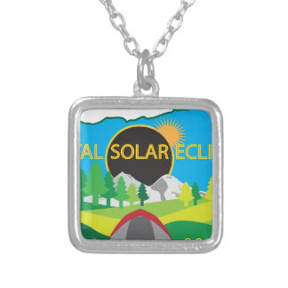 2017 Total Solar Eclipse Camping Trip Map Silver Plated Necklace