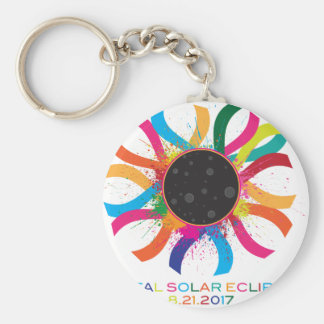 2017 Total Solar Eclipse Corona Text Color Basic Round Button Keychain