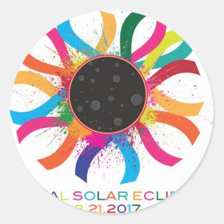 2017 Total Solar Eclipse Corona Text Color Classic Round Sticker