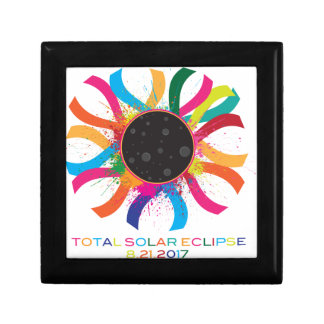 2017 Total Solar Eclipse Corona Text Color Gift Box