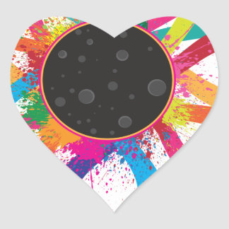 2017 Total Solar Eclipse Corona Text Color Heart Sticker