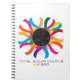 2017 Total Solar Eclipse Corona Text Color Spiral Notebook