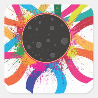 2017 Total Solar Eclipse Corona Text Color Square Sticker