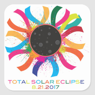 2017 Total Solar Eclipse Corona Text Color Square Sticker