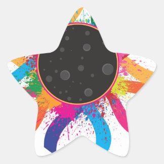 2017 Total Solar Eclipse Corona Text Color Star Sticker