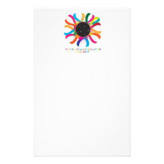 2017 Total Solar Eclipse Corona Text Color Stationery