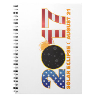 2017 Total Solar Eclipse Over USA Numeral Notebooks
