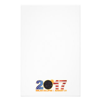 2017 Total Solar Eclipse Over USA Numeral Stationery