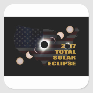2017 Total Solar Eclipse Phases Square Sticker