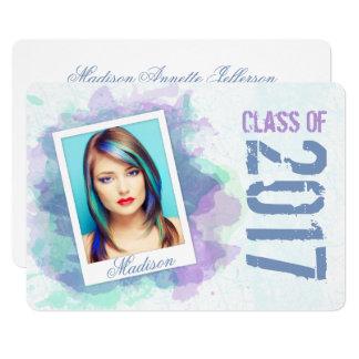2017 Watercolor Splash Graduation Flat Card