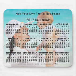 2017 Year Monthly Calendar Black Add Photo Text Mouse Pad
