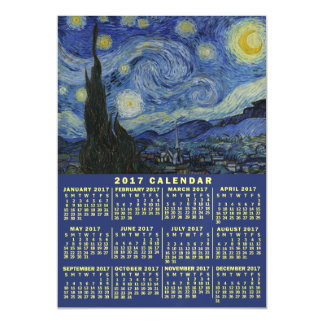 2017 Year Monthly Calendar Starry Night Van Gogh Magnetic Invitations