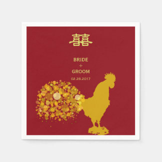 2017 Year Of Rooster Red Gold Chinese Wedding Paper Napkins