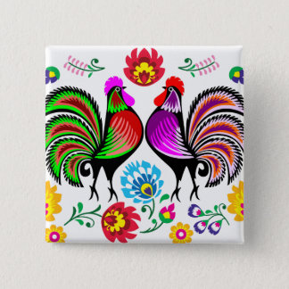 2017 Year of the Rooster Design 1 2 Inch Square Button