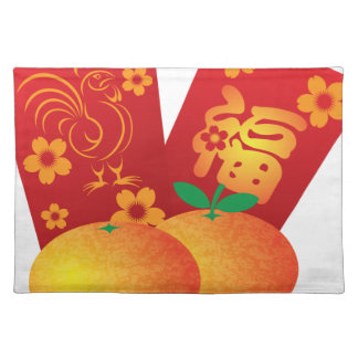 2017 Year of the Rooster Red Packets Illustration Placemats