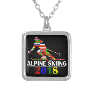 2018 ALPINE SKIING SILVER PLATED NECKLACE