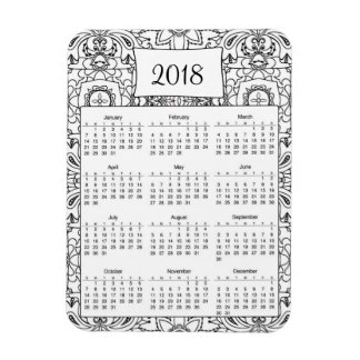 2018 Black and White Tribal Design Magnet
