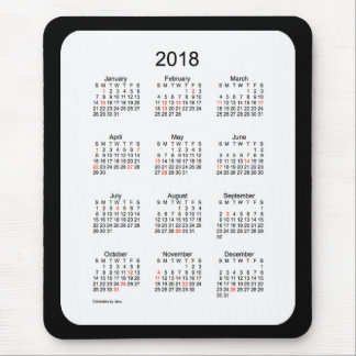 2018 Black Holiday Calendar by Janz Mouse Pad
