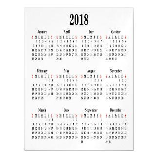 2018 Blank Calendar Magnetic Card