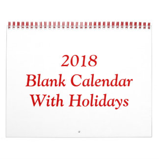 2018 Blank Calendar With Holidays And Red Wire