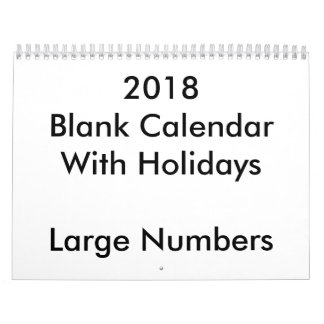 2018 Blank Calendar With Holidays Large Numbers