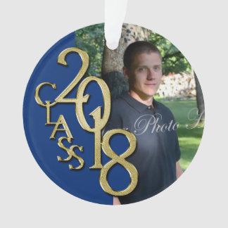 2018 Blue and Gold Graduation Photo Ornament