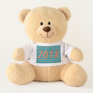 2018 Blue Orange Chevron Customizable Typography Teddy Bear