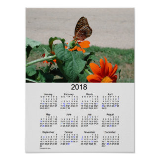 2018 Butterfly Holiday Calendar by Janz Poster