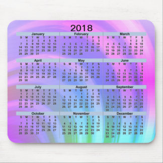 2018 Calendar Abstract Rainbow Mousepad